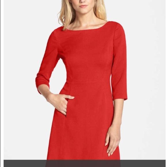 add04cb9f3b4 Vince Camuto Dresses | 34 Sleeve Red Dress | Poshmark